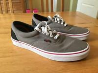 Vans canvas shoes Grey with black and red detail UK size 10.5 Brand new
