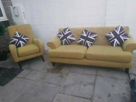 Dfs mustard sofa and chair