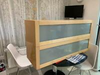IKEA wall cabinet with glass shelves