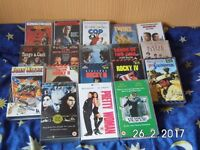 Selection of vhs films for sale.