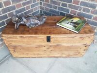 Rustic trunk coffee table/storage chest. Handcrafted/reclaimed wood. LOCAL DELIVERY.