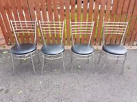 4 Chrome & Black Leather Chairs FREE DELIVERY 624