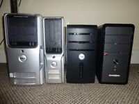 Lot of 4 x complete computer towers + 2 x monitors + keyboards + mouses