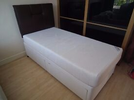 Single Bed with Memory Foam Mattress and Headboard