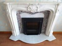 Marble fireplace and surround with bulit in fire