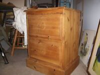 Large Pine bedside table with 2 drawers, needs handles, chunky, all solid pine