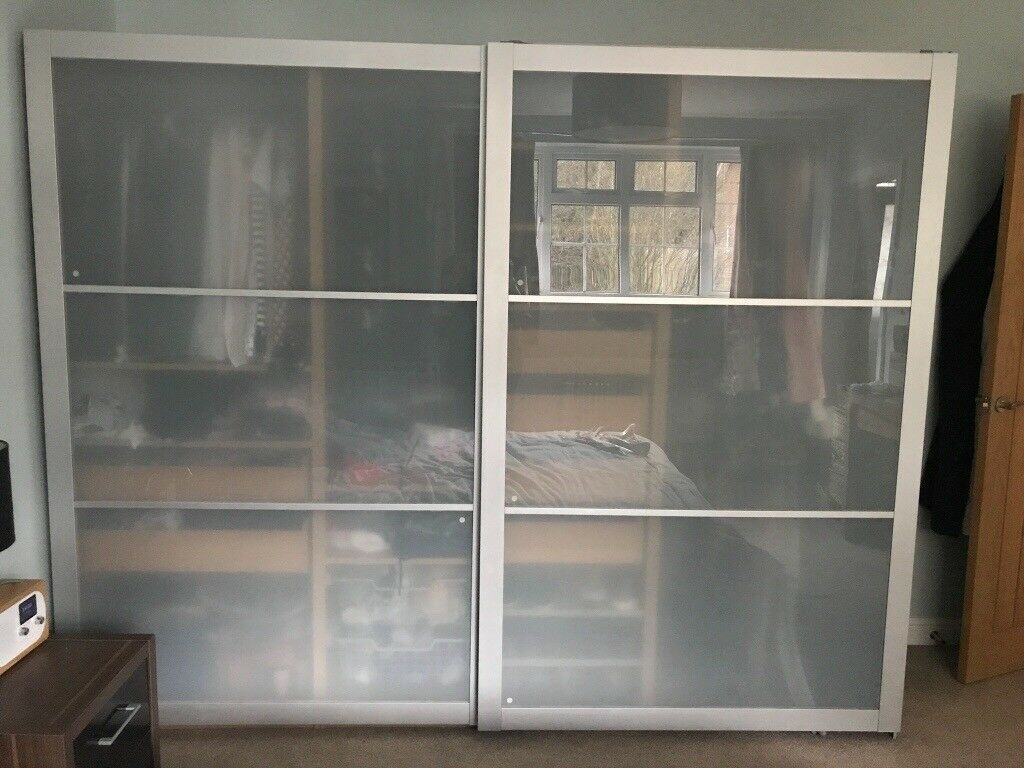 Ikea Pax Modular Wardrobe With Glass Sliding Doors And Matching