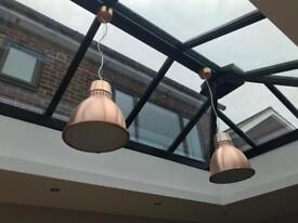 Two Industrial Copper Aluminium Ceiling Pendant Lights