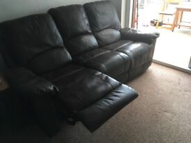 3/2 seater sofas and 2 chairs in chocolate faux leather