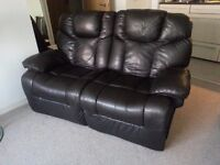 Dark Brown 2 seat faux leather recliner sofa!!! Collection Only!!!