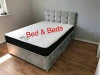 King Size Crush Velvet Divan Bed
