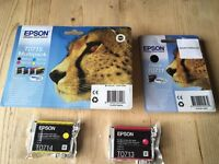Epson Ink Cartridge Cheetah T0715 and T0711 unopened (2x black, 1x blue, 2x yellow, 2x magenta)