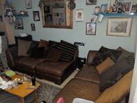Brown Leather Corner Sofa & Pouffe