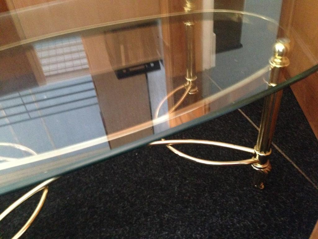 Gold metal and glass top coffee table