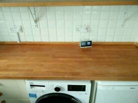 Three pieces of beech worktop