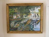 Monet painting - Bathers at La Grenouillère - oil on canvas copy