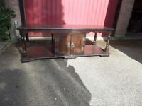 Vintage Dark Oak Entertainment Unit Coffee Phone Side TV Table like Old Charm