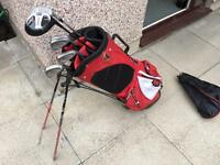 Golf clubs set of Wilson Irons, driver, 3 wood, putter & bag. Very Good Condition