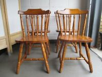 SET OF FOUR SOLID PINE FARMHOUSE STYLE DINING CHAIRS KITCHEN CHAIRS FREE DELIVERY