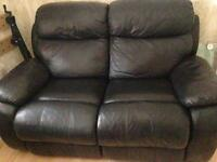 2 seater real leather recliner
