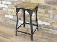 Industrial Angle Stool with Wood Seat