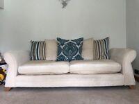 2 & 3 seater cream fabric settee