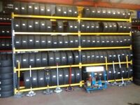 TYRE STORAGE RACK RACKING. HEAVY DUTY. BRITISH MADE. 18ft 6in LONG x 10ft 5in HIGH (565cm x 315cm)