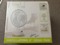Fine elements oscillating 9 inch desk fan - brand new in box £10