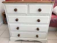 Painted Pine Chest of Drawers Shabby Chic.