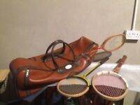 Vintage Grays leather tenis bag and rackets..
