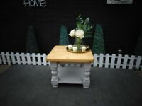 SOLID PINE FARMHOUSE COFFEE TABLE WITH SHELF PAINTED WITH LAURA ASHLEY GREY COLOUR