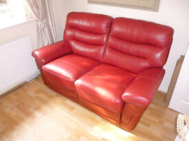 LEATHER SOFA, QUALITY RED LEATHER, 2 SEATER, MANUAL RECLINER, AS NEW