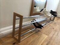 Long oak and chrome double shoe rack