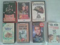 7 WAR FILMS ACTION MOVIES VHS TAPES, RARE COLLECTIBLE METAL JACKET BIG BOX 80'S