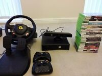 Xbox360+ kinect+ steering wheel+ controlers + games