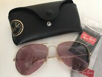 Ray bans polarised pink lens and gold frame original and real as new