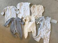 Five babygrows and outfit set - size 0 - 1 month