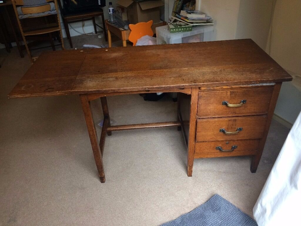 Vintage Antique Drop Leaf Desk Mid 20th Century