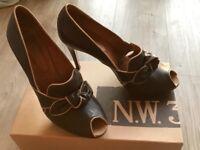 HOBBS NW3 ladies Leather Bow Peep Toe Shoes
