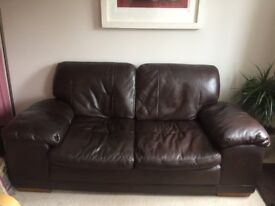 Brown Leather Sofa / Two Seater / Very good condition