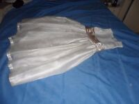 Beautiful girls dress, cream with a coffee coloured sash, perfect for Communion, wedding or party