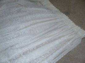 Lacy Cream Coloured Lined Curtains