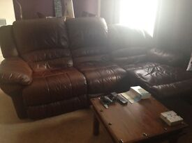 Leather sofa for sale 3 seats brown