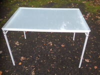 basic metal framed table frosted glass top