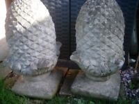 "Pair large all 22 "" pineapple finials and smaller pair"