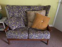 Retro Wingback Sofa and Armchair, John Lewis fabric, 60s 70s vintage