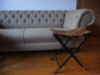 Rare piece of furniture: wooden-metallic fold-away STOOL; unique piece of art & craft.