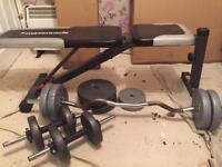 Maximuscle bench, barbell, dumbells