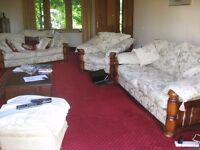 2 x Large Sofas & Armchair Wooden Frame Spare Set of Cushions & Covers Bargain
