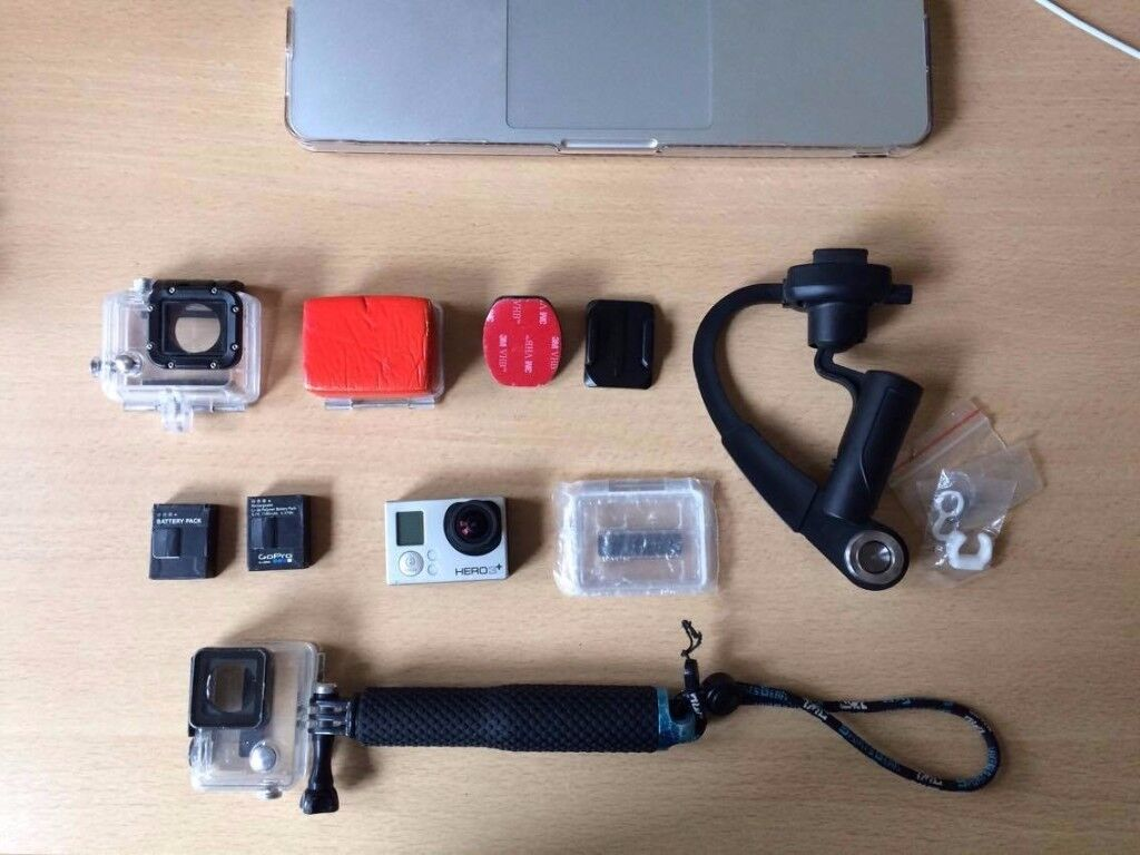 GoPro HERO 3+ sliver edition with a bundle of acessories